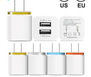 Plug 2.1A pared metálica con doble puerto USB cargador cargador de teléfono de Estados Unidos de la UE Adaptador de corriente AC cargador de pared enchufe del puerto 2 para Ip 11 pro max Huawei Samsung Xiaomi