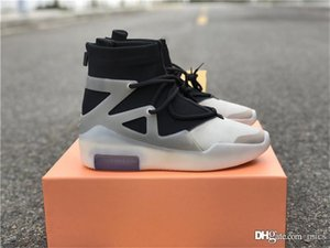 Top Authentic Air Fear of God 1 String The Question Triple Black FOG Off Noir Grey Oatmeal Basketball Shoes Men AR4237-902 Sneakers With Box