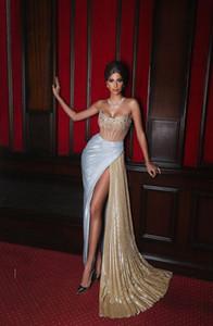 Sexy arabische Abendkleider Strapless Hoch Split Kristall-Korn-Nixe-Abschlussball-Kleider nach Maß Black Girls Robes De Soirée
