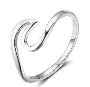 925 Silver Wave Design Anéis Mulheres Midi Anéis Presentes New Aniversários Moda anel da jóia Meninas do presente