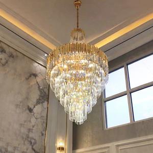 أمريكا كريستال الثريا الحديثة LED K9 كريستال الثريات أضواء تركيبات فندق كبير درج الطريق قلادة مشروع مصباح الإنارة الرئيسية داخلي