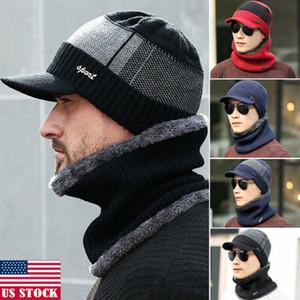 ABD Stok Moda Erkekler Kış Sıcak Hat Katı Stil Örme Siperlik Beanie Fleece Brim Cap Gary Mavi Kırmızı Black ile Beanie Çizgili