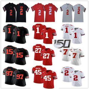 NCAA OSU 1 Justin Alanlar 2 JK Dobbins Chase Genç Joey Bosa Elliott Archie Griffin Eddie George Ohio State Buckeyes Koleji Futbol Formalar