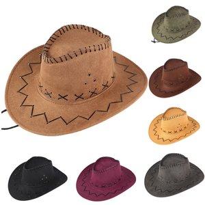 20#Unisex Adult West Cowboy Hat Mongolian Hat Grassland Sunshade Cap Stranger Things Hats Hombre Casquette