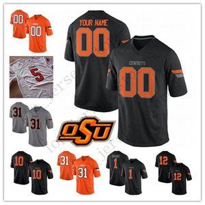 Custom 2019 Oklahoma State Cowboys любое имя номер черный серый оранжевый белый 2 Tylan Wallace 21 Barry Sanders сшитая Футбольная майка колледжа