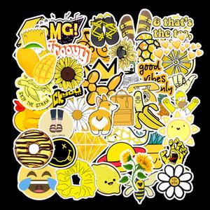 50 ADET Karikatür Sarı VSCO Çıkartma İçin Chidren Oyuncak DIY Bavul Dizüstü Bisiklet Kaskı Araba Çıkartmaları L Su geçirmez Sticker