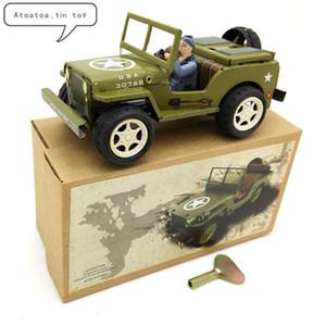 Oldtimer Zinn Wind Up Uhrwerk Spielzeug SUV Auto Wind-Up Zinn Spielzeug Für Kinder Erwachsene Pädagogische Sammlung Geschenke SH190913