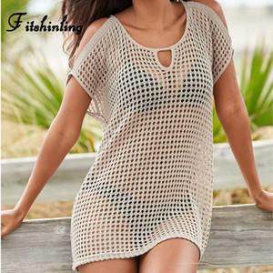 Fitshinling Вязание сетки парео купальники бикини наружная крышка Boho выдалбливают летние платья пляж открытое плечо сексуальные короткие платья