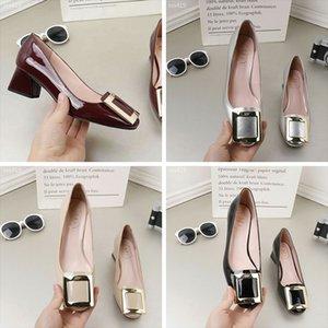 Yaz Sığ Ağız Deri Kadın Ayakkabı Kalın Topuk Tek Ayakkabı Orta Topuk Küçük Deri Ayakkabı Bayan Blok topuk ayakkabı Çalışma Lüks Klasik