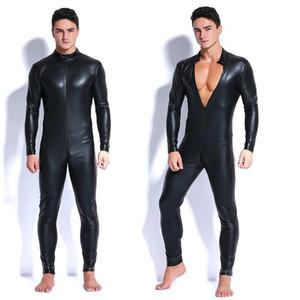 2018 Hommes Faux cuir Fermeture à glissière Entrejambe Costumes Latex Lingerie Sexy Catsuit Jumpsuit Costumes érotiques Spandex Catsuit Bodysuit Clubwear