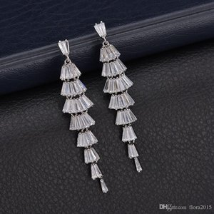 New arrival fashion party style white gold color plated clear rhinestone crystal drop earrings with cubic zirconia