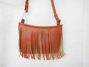 Street fashion women bag fashion trend small tassel shoulder diagonal PU bag lightweight portable casual handbag