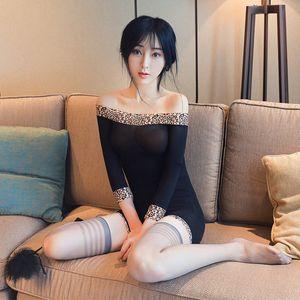 Sexy Lingerie Leopard Straples Pajamas Women Sleepwear Lace Nightdress Silk Underwear Women Sleepwear See Through Dress