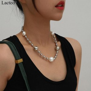 Lacteo Steam-Punk Big Imitation Pearl Choker Necklace Jewelry for Street Punk Women Men Neo Gothic Big Round Bead Charm Necklace