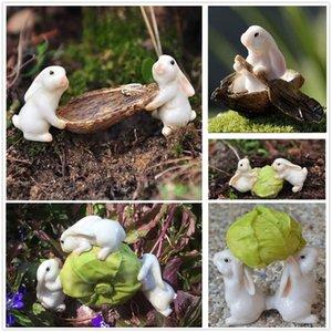 Conejos miniatura de resina col Figurita Micro paisaje del jardín decoración estatua Conjunto de resina pintada a mano Animal Hada del jardín Decoración