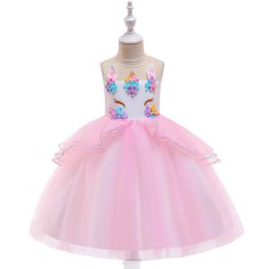 Mädchen Einhorn-Prinzessin-Kleid 20 Farben-Kind-Mädchen wulstige Gestickte Ballkleid Kinder beiläufige Kleidung Mädchen-Bogen-tie Mesh-TUTU Zip-Kleid 06