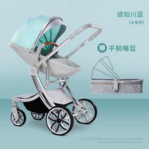 envío libre cochecito de bebé de la alta paisaje 2 en 1 de dos vías recién nacido del cochecito de niño de absorción cochecito de bebé de cuatro ruedas niño