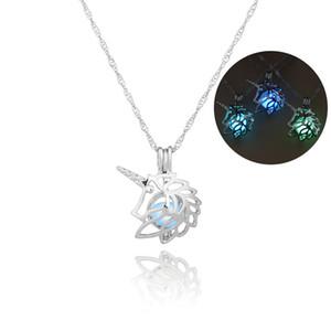 3 Farbe leuchtende Einhorn Halsketten hohlen Medaillon Halskette Weihnachten Valentinstag Geschenk Antik Räuchergefäß Schmuck Käfig Anhänger