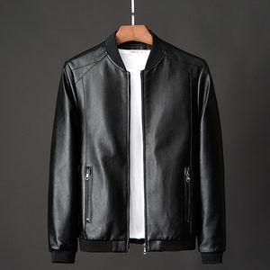 PU de la chaqueta de cuero de los hombres del otoño de 2020 en Faux abrigos de cuero para hombre de sólidos de color Ropa Casual Slim Fit abrigo Hombre Ropa