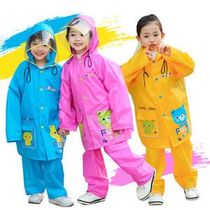 El impermeable de nylon Para niños de dibujos animados impermeable a prueba de lluvia poncho Moda Cute Kids impermeable con capucha impermeable para lluvia Pantalones de traje