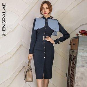 SHENGPALAE 2019 Nouveau Printemps Slim Vêtements Col rond Patchwork Reffles manches longues Bureau Lady Mode féminine robe FL667