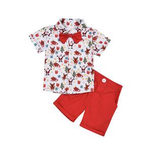 Bebek Bebek Noel Giysileri Set Gömlek Yay Ile + Kırmızı Şort Santa Clause Elk Baskılı Pamuk Karikatür Çocuk Yeni Yürüyor 2020