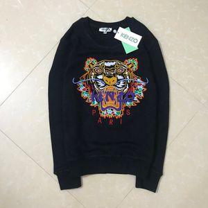 Cálido KZ bordado del suéter del invierno otoño la cabeza del tigre sudaderas con capucha mujer del hombre de la alta calidad del O-cuello jersey de algodón puro Terry