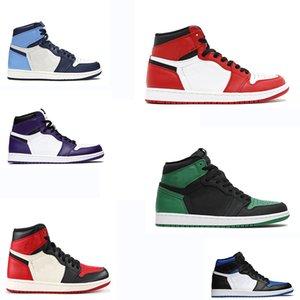 Box 2020 Erkek ve Bayan Basketbol Ayakkabı Sneakers 1'ler ile erkekler Spor Ayakkabılar Arkalık Shattered Yasaklı İlk 3 Bred Toe Gölge US7-12