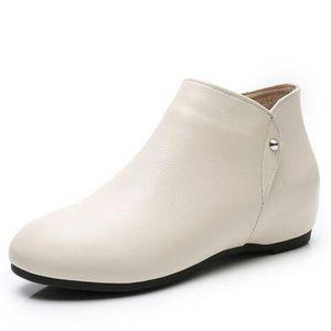 1.5cm Büyük Beden moda Casual ayakkabılar ayak bileği Boots içinde 2020 Yeni Bahar Yumuşak konfor Üst inek derisi deri Çizme Kadınlar Çizme Düz Artış