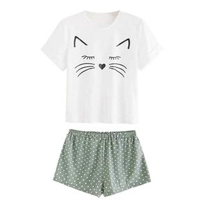Women Summer 2pcs Casual Cat Printed Clothing Sets Short Sleeve O Neck Top T Shirt + Solid High Waist Ruffled Shorts Clothes