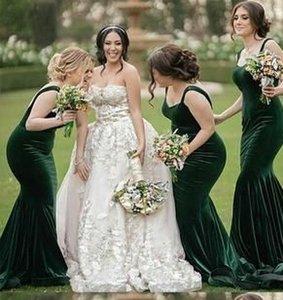 Русалка длинные платья подружки невесты падают зеленый бархат с промежуточным поездом