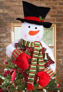 Рождественская елка Toppers висячего украшения снеговик с шарфом Hat отдыхом, связанными с орнаментами снеговик на Xmas Tree Украшение