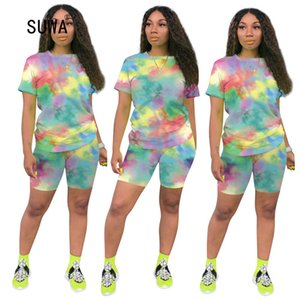 SUWA Hot Sale Summer Streetwear Women Cartoon Print O Neck Short Sleeve T-Shirt And Shorts Casual Suit Femme Tracksuit 6 Color T200608