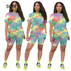 SUWA Hot Venda Verão Streetwear Mulheres dos desenhos animados Imprimir T-shirt e calções O Neck manga curta Suit Casual Femme Treino 6 cores T200608