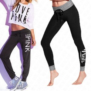 Los pantalones de mujer de marca impresa letra del juego con cordón polainas Deportes pantalones de yoga Operando polainas Pantalones Señora de alta cintura Panty pantalones D62205