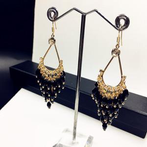 High-end earrings long temperament drop crystal handmade earrings jewelry wholesale 87-12