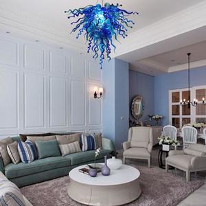 Modern Crystal Chandeliers Blue LED Lights Creative Pendant Light Home Hotel Living Room Lighting Murano Glass Ceiling Chandelier