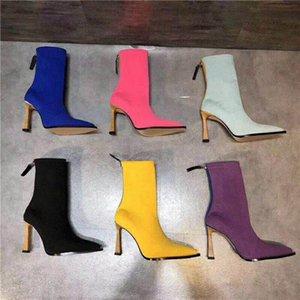 Gestrickte Socken Füßlinge Frauen Stiefel-Schnee gestrickte Frauen Booties beiläufige Martin Stiefel Großhandel Damen Winterstiefel