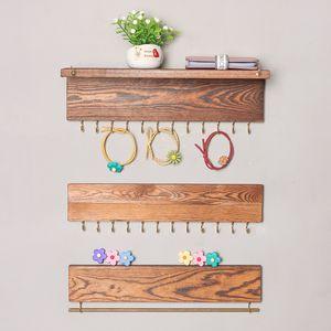 6 Styles de mur en bois Mounted Display Organisateur Porte-crochet Bijoux pour Collier Boucles d'oreilles Bague écharpe rack M1357 Hangers Bijoux