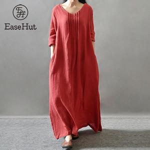 EaseHut 2020 Mulheres Maxi New Vintage vestido de algodão Plus Size mangas compridas Pockets V Neck Ruched soltas Kaftan Robe Vestidos Vestidos