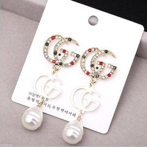 Designer Buchstaben G Ohrringe Vergoldet Baumeln Ohrringe mit Rot Grün Weiß Bunten Stein Earddrop Für Frauen Mädchen Partei Schmuck