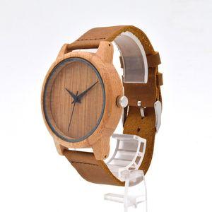 Wooden Watch Lady Leather Strap Sandalwood Watch Quartz Watches Trendy Joker Simple Women Wood Wristwatch With Retail Box