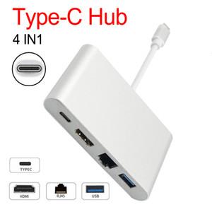 Adattatore USB Hub 4 in 1 Adattatore USB-C 3.1 Da C a HDMI 4 K + Convertitore video digitale Gigabit Ethernet RJ45 + USB 3.0 Multilport