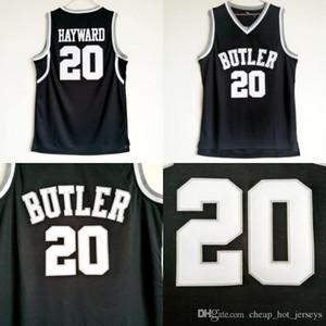 Alta calidad Gordon Hayward de Butler Bulldogs jerseys 20 Hombres Color Negro baloncesto de la universidad Gordon Hayward deporte Jersey Uniforme envío