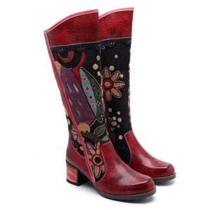 Kadın Boots Retro Perçin Diz Yüksek Boots El yapımı deri Uzun Patik Kadınlar Yüksek Kovboy Çizmesi Moda Günlük Ayakkabılar