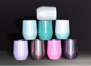 Neue 12 Unzen Glitter Wine Tumbler Gläser Edelstahl-Bier Kaffeetasse mit Deckel Doppelwand-Vakuum-Insulated Cups Für Champagner Whiskey