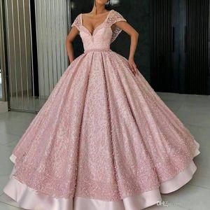 Elegante vestido rosa de bola Vestidos de quinceañera con hombros descubiertos Casquillo de la tapa Mangas Apliques Listones Con pliegues Largo Dulce 16 Fiesta Vestidos de fiesta Noche