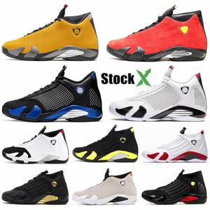 14 14s Candy Cane Nero Toe XIV Giallo di pallacanestro degli uomini Scarpe Red Suede Jumpman Ferrar ultimo colpo Last Shot Thunder Sneakers