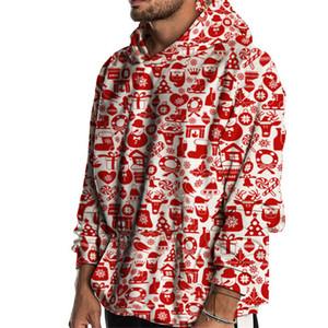 2020 nuovo anno con cappuccio Babbo Natale Stampa Autunno Inverno Casual Felpe con cappuccio partito Streetwear felpa uomo