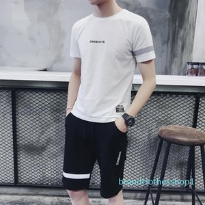 2020 Men's Sports Suit New Short Sleeve T-Shirt Shorts Set Korean Slim Two-piece Set Summer Tide Asian Sizes Available in 5 Colors